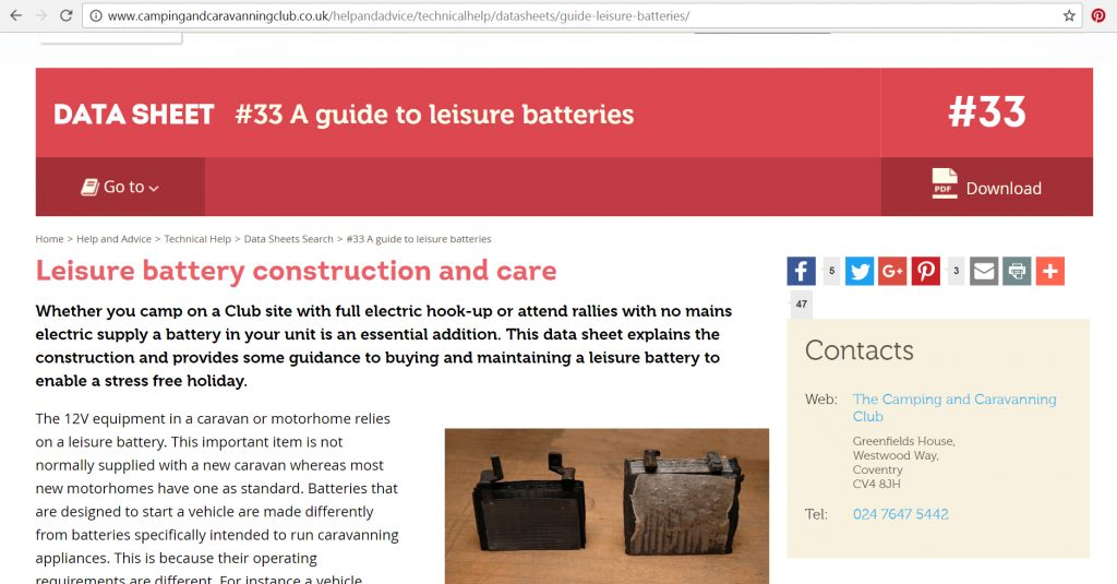 Converting readers into Customers - Caravan and Camping Club data sheet on leasure batteries