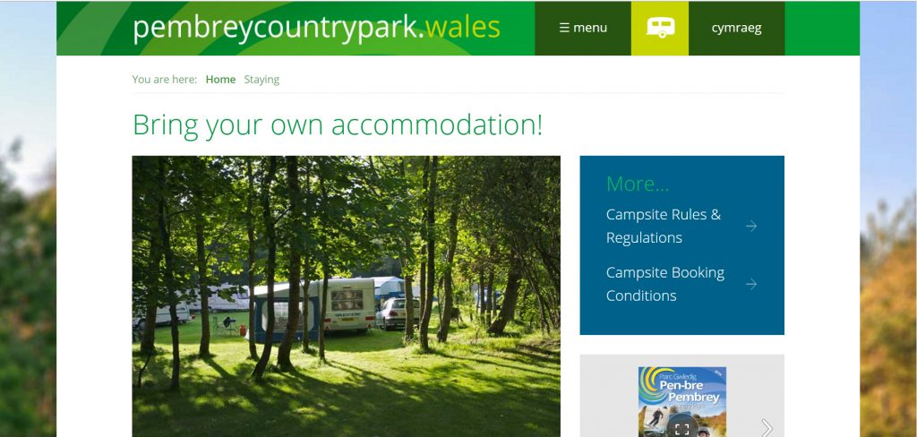 Screen shot of pembrey website